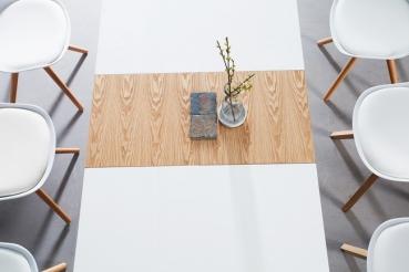 moebel ausziehbarer esstisch onya weiss. Black Bedroom Furniture Sets. Home Design Ideas
