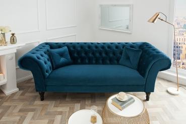 moebel chesterfield sofa louise samt blau. Black Bedroom Furniture Sets. Home Design Ideas