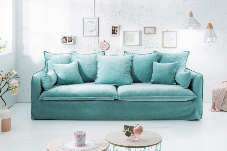 Big 3er Sofa SKY - Samt aqua