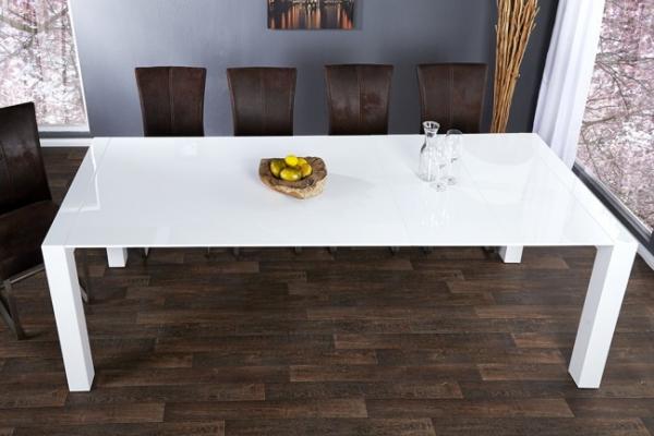 moebel ausziehbarer design esstisch x1 wei hochglanz 180 220 cm 260 cm. Black Bedroom Furniture Sets. Home Design Ideas
