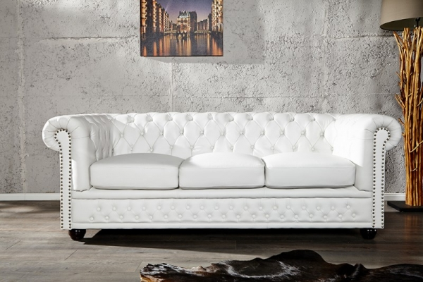 Chesterfield 3er Sofa 205cm matt weiss
